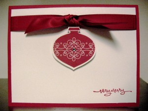 Ornament punched with ribbon and rhinestone