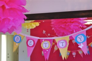 Butterfly Birthday Party Banner and Tissue Paper Poms-Poms