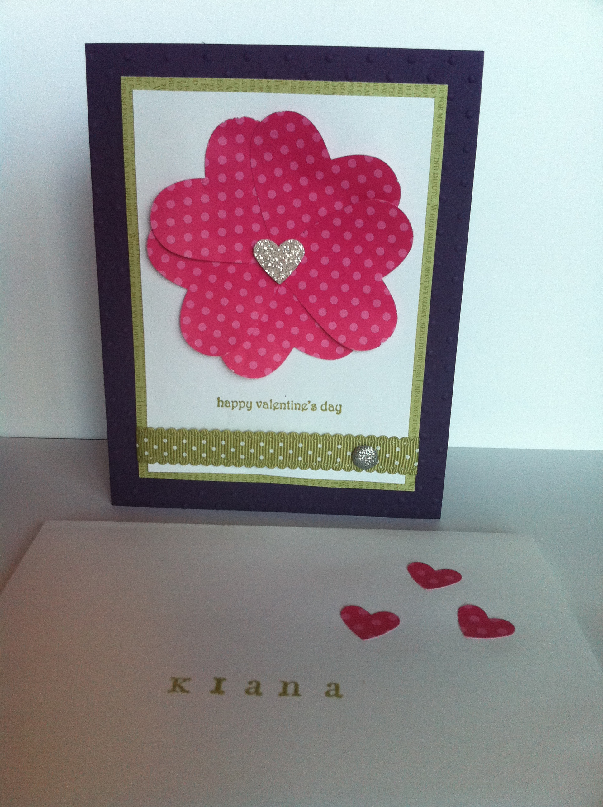 Handmade Cards Hearts Heart Flower Glimmer Card With