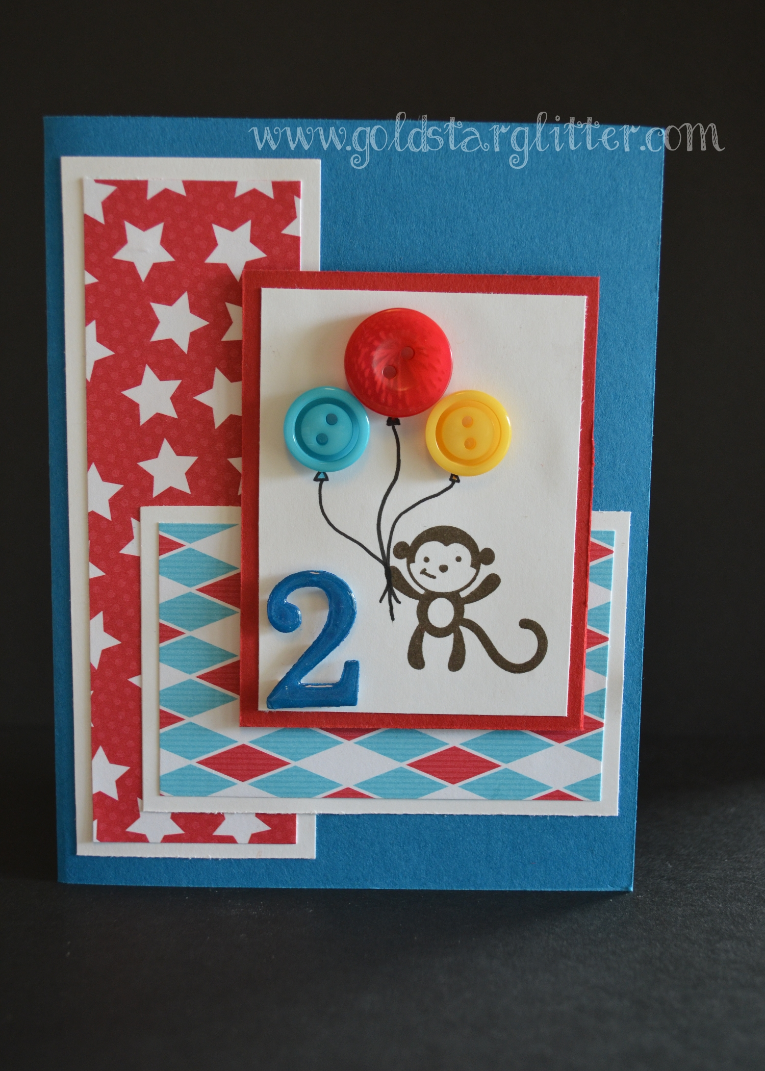 Button Balloon Birthday Card Goldstar Glitter