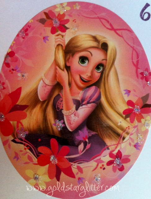 Handmade disney tangled rapunzel birthday card goldstar glitter close up rapunzel card bookmarktalkfo Image collections