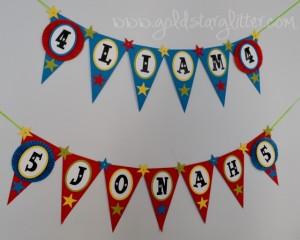 Gymnastic Birthday Pennant Banner