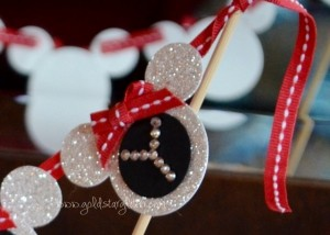 Glitter Minnie Mouse Cake Topper Close Up