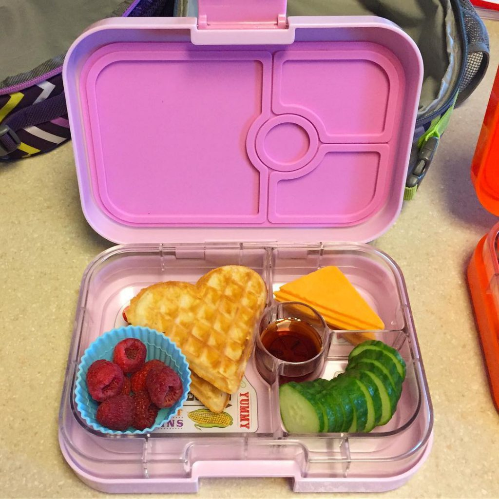Yumbox lunch complete with heart waffles and syrup  hellip