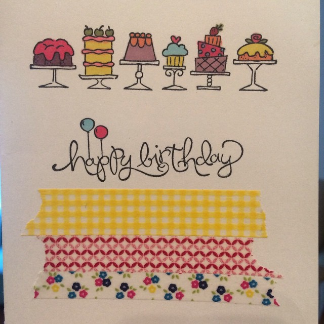 Sweet colourful handmade birthday card. Everything used is from Stampin' Up! washi tape and the Blendabilities markers (copic markers) #stampinup #handmadecard @stampinup