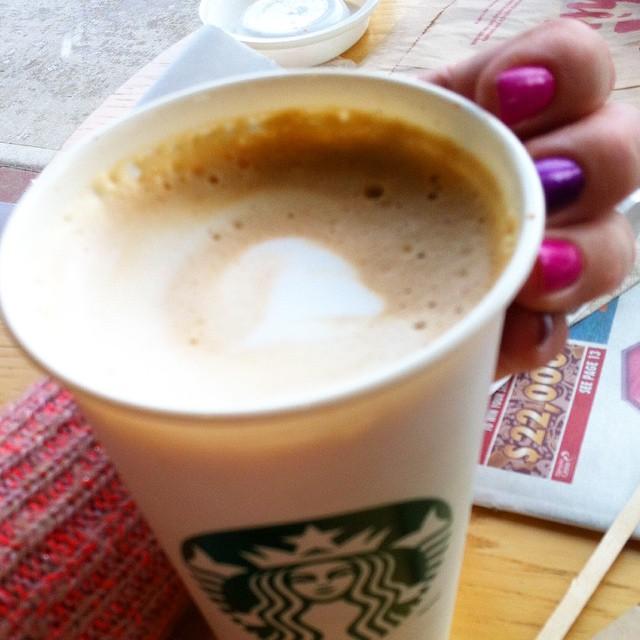 Starbucks coffee, friends & fun nails = good times ?? #flatwhite #starbucks #nailpolish